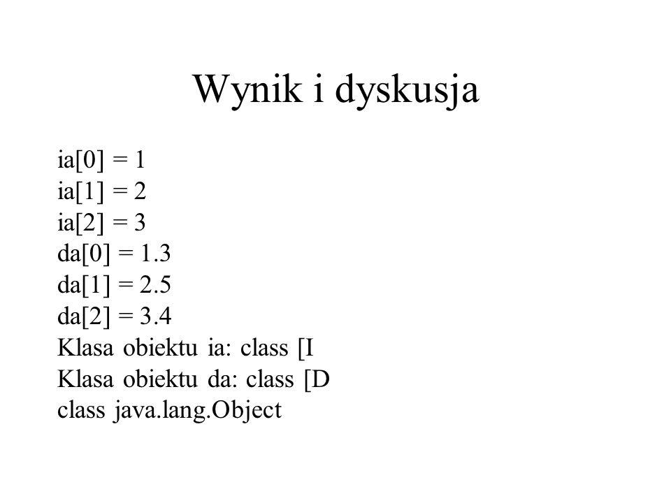 Wynik i dyskusja ia[0] = 1 ia[1] = 2 ia[2] = 3 da[0] = 1.3 da[1] = 2.5